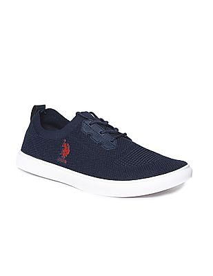 U.S. Polo Assn. Blue Knit Upper Lace Up Sneakers