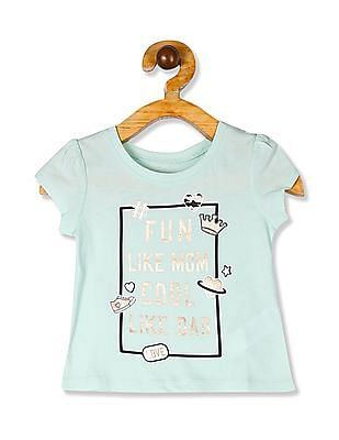 The Children's Place Baby Girls Blue Glitter Print T-Shirt