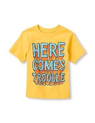 The Children's Place Toddler Boy Yellow Short Sleeve 'Here Comes Trouble' Graphic Tee