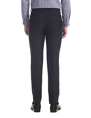 Arrow Blue Tapered Fit Tonal Check Trousers