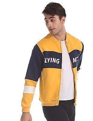 Flying Machine Yellow Brand Print High Neck Sweatshirt