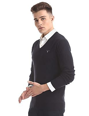 Gant Cotton Wool V-Neck Sweater