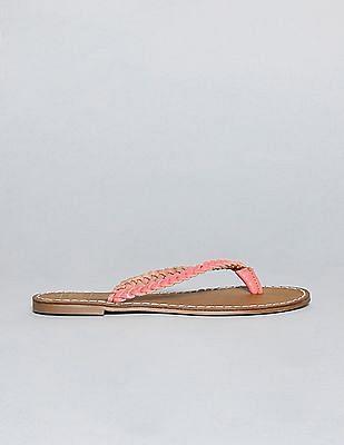 GAP Women Pink Braid Leather Flip Flops