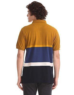 U.S. Polo Assn. Blue And Mustard Pique Polo Shirt