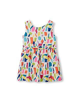 The Children's Place Toddler Girl Multi-Colour Sleeveless Bow-Back Confetti Print Dress