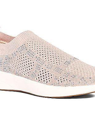 Stride Pink Embellished Upper Slip On Shoes
