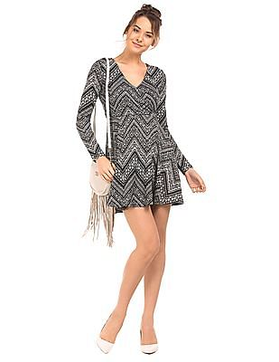 Aeropostale Surplice Neck Long Sleeve Skater Dress