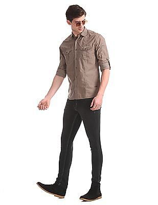 Newport Black Skinny Fit Faded Jeans
