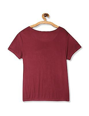 SUGR Red Embroidered Front Woven Top