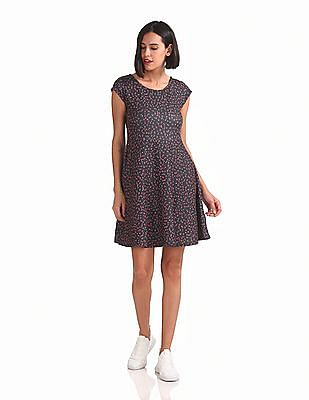 SUGR Printed Fit And Flare Dress