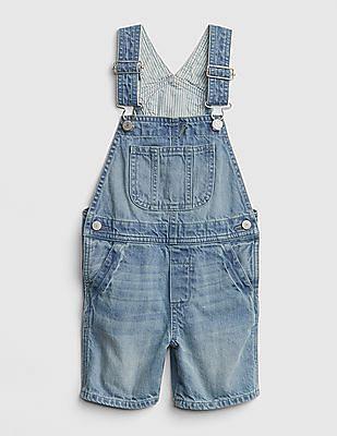 GAP Toddler Boy Stripe-Lined Denim Shortalls
