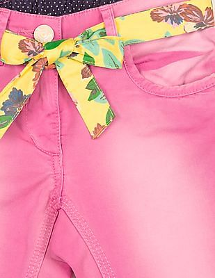 U.S. Polo Assn. Kids Girls Regular Fit Washed Capris