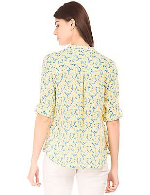 U.S. Polo Assn. Women Notched Neck Printed Top