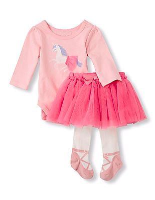 The Children's Place Baby Girls Unicorn Skirt Set