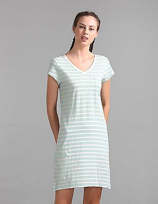 GAP Women Green V-Neck Tee Dress