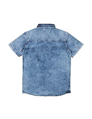 Cherokee Boys Acid Wash Short Sleeve Shirt