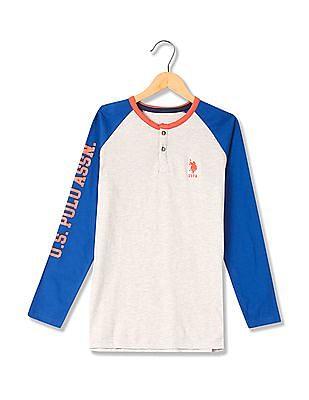 U.S. Polo Assn. Kids Boys Colour Blocked Henley T-Shirt