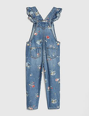 GAP Baby Floral Ruffle Overalls