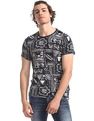 Flying Machine Blue Crew Neck Printed T-Shirt