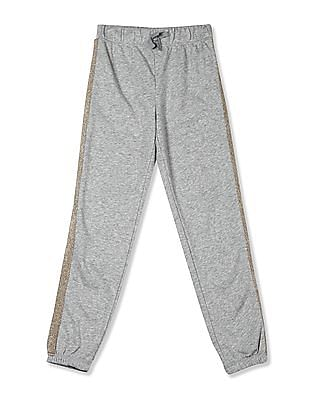 The Children's Place Grey Girls Active Glitter Side Stripe Fleece Pants