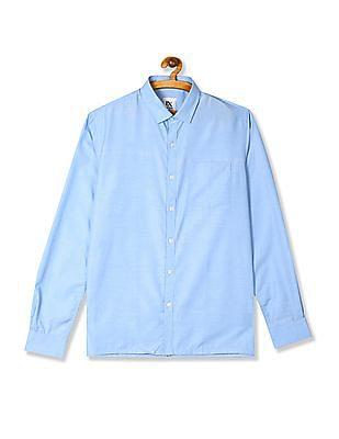 Excalibur Blue Mitered Cuff Solid Shirt