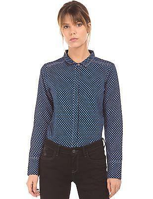 Arrow Woman Floral Print Cotton Linen Shirt