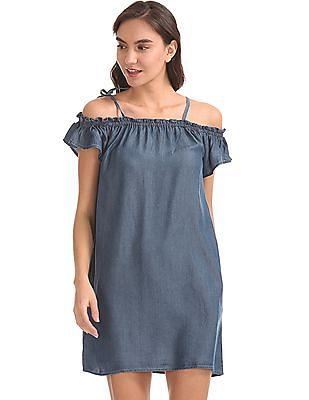 Aeropostale Cold Shoulder Chambray Dress