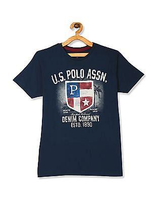 U.S. Polo Assn. Kids Blue Boys Printed Front Cotton T-Shirt