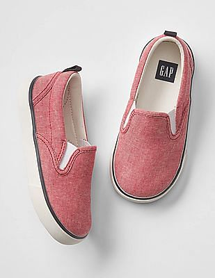 GAP Baby Red Oxford Slip On Sneakers