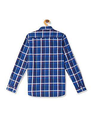 U.S. Polo Assn. Kids Blue Boys Spread Collar Check Shirt