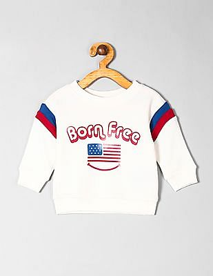 GAP White Baby Crew Neck Graphic Sweatshirt