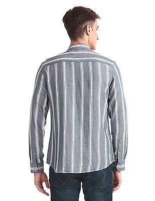 Ed Hardy Blue Mandarin Collar Vertical Stripe Shirt