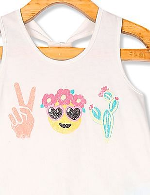 The Children's Place Toddler Girl Matchables Sleeveless Glitter Graphic Keyhole Racer Back Top