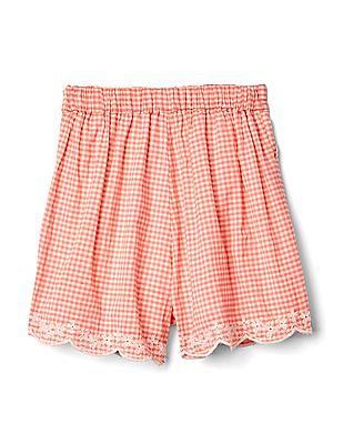 GAP Toddler Girl Pink Eyelet Gingham Shorts