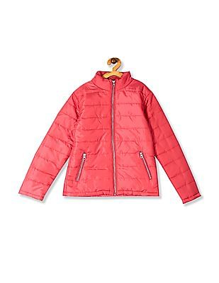 Cherokee Pink Girls High Neck Quilted Jacket