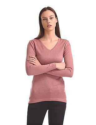 Flying Machine Women Long Sleeve V-Neck Sweater
