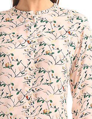 Arrow Woman Printed Ruffle Neck Shirt