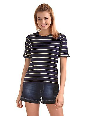 Flying Machine Women Raw Hem Striped Top