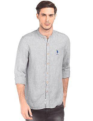 U.S. Polo Assn. Mandarin Collar Linen Shirt