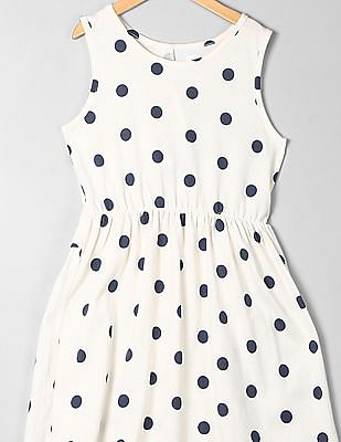 GAP Girls White Print Fit And Flare Dress