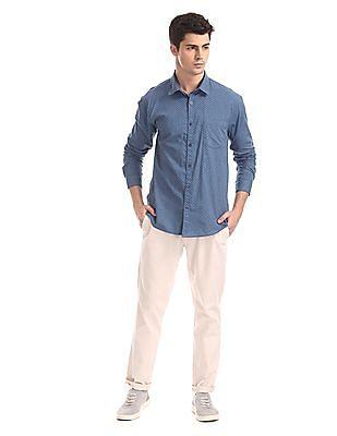 Ruggers Blue Mitered Cuff Printed Shirt
