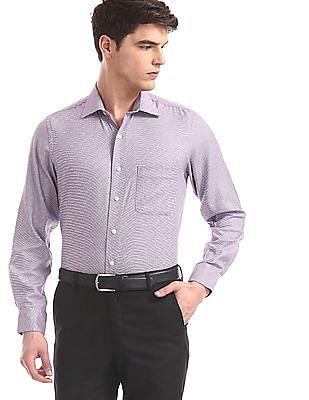 Arrow Purple Mitered Cuff Patterned Shirt