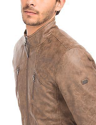 Ed Hardy Panelled Slim Fit Biker Jacket