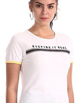 Flying Machine Women White Round Neck Cotton T-Shirt