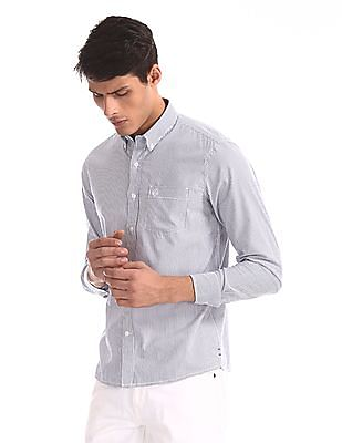 Arrow Sports White And Navy Slim Fit Button Down Shirt