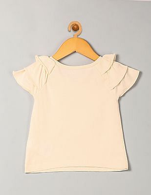 GAP Baby White Ruffle Sleeve Top