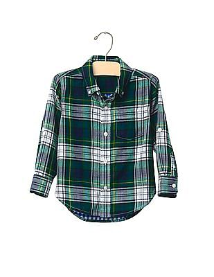 GAP Baby Green Plaid Double Weave Convertible Shirt