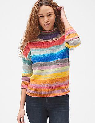 GAP Women Multi Colour Crazy Stripe Mock neck Pullover Sweater