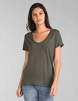 GAP Short Sleeve Scoop Neck T-Shirt In Linen