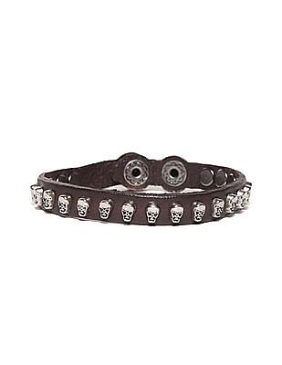 Ed Hardy Skull Studded Leather Bracelet